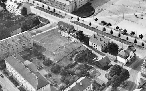 flygbild från 1950 över kvarteret Sverre, Uppsala