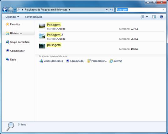 Pesquisando no Windows Explorer com o Windows Search
