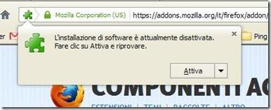 Firefox L'installazione di software è attualmente disattivata