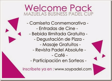 Welcome Pack I Torneo Mazuelas Business Pádel Cup 2013 14 Diciembre de 2013 en Alcalá de Henares
