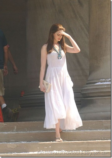 Anne Hathaway on the set of The Dark Knight Rises in Pittsburgh, August 6th, 2011