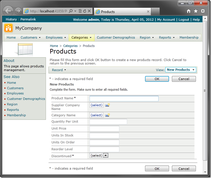 Default 'createForm1' view of 'Products' in sample Code On Time web application