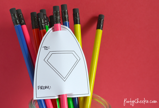 Boy Valentine Printable: Superhero Pencil Capes