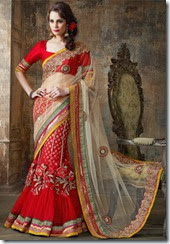 Red &Cream lehenga Saree - Kopanaa