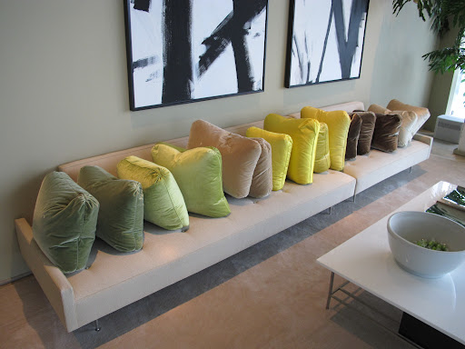 I kind of love seeing all of my pillows lined up like this. They are all waiting to be cleaned.