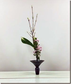 【生花正風体三種生け】ウリバモミジ、ハラン、キク