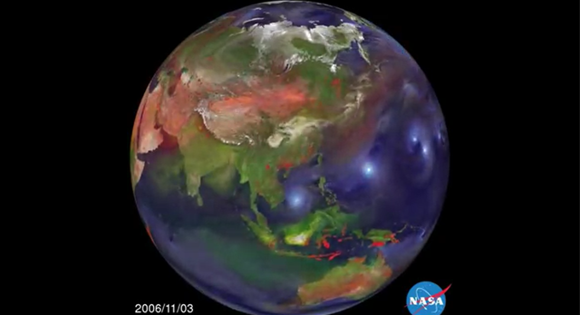 This video still shows aerosol emission and transport from 1 September 2006 to 10 April 2007. Also included are locations, indicated by red and yellow dots, of wildfires and human-initiated burning as detected by the MODIS instrument on NASA's Terra and Aqua satellites. Graphic: NASA Goddard Space Flight Center