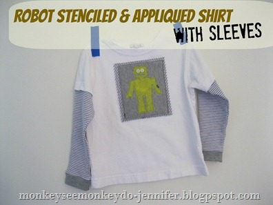 shirt with robot stencil  and applique added - Copy