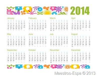 2014 Excel Yearly Calendar