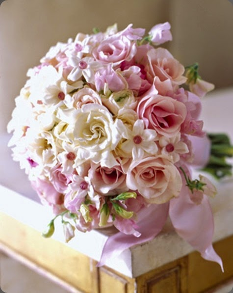 stephanotis pink majolica roses and pink sweet peas, I love adding pink cut crystals to the centers of stephanotis blooms. michelle rago