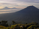 Merbabu, Merapi and Sumbing from Sindoro (Daniel Quinn, June 2010)