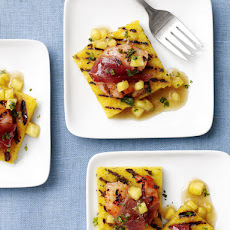 Pineapple Polenta Squares with Shrimp