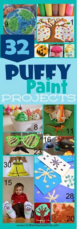 45 Puffy Paint Recipe and Puffy Paint Projects for Kids - Love this list of creative kids activities! Great for summer bucket lists for toddler, preschool, kindergarten, and elementary age kids too.