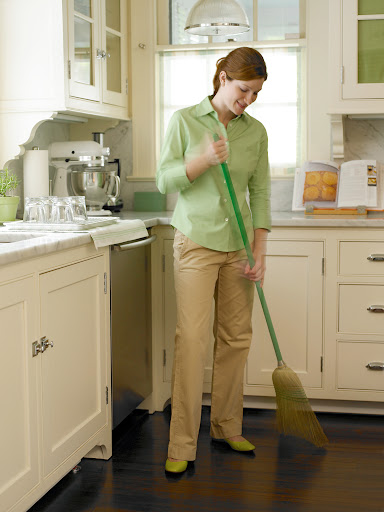 Sweeping the kitchen floor after dinner each night will keep dirt and grime from building up and make weekly mopping much easier.