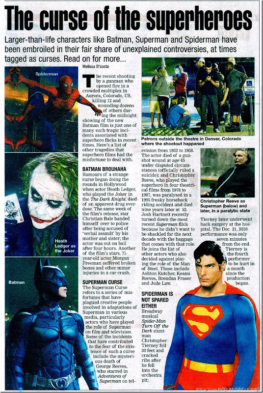 The Times Of India Chennai Edition Chennai Times Page 01 Dated Monday 23rd July 2012 Curse of the Super Heroes Article