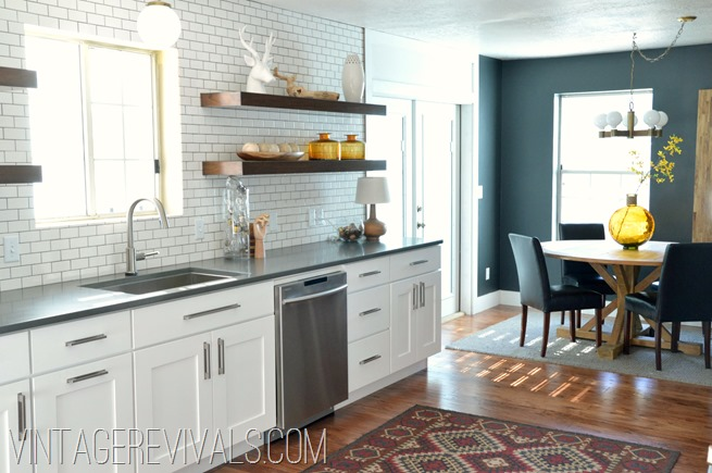 White Cabinets Open Shelving Black Wall @ Vintage Revivals
