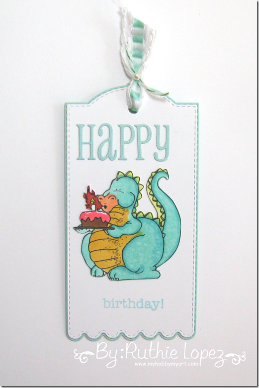 Tag. Happy Birthday.  Dragon Blowing Candles. Eureka Stamps. Ruthie Lopez 2