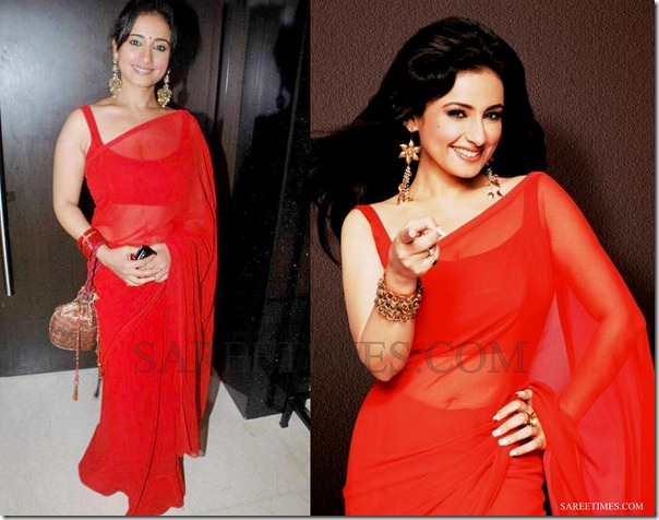 Divya_Dutta_Red_Plain_Saree