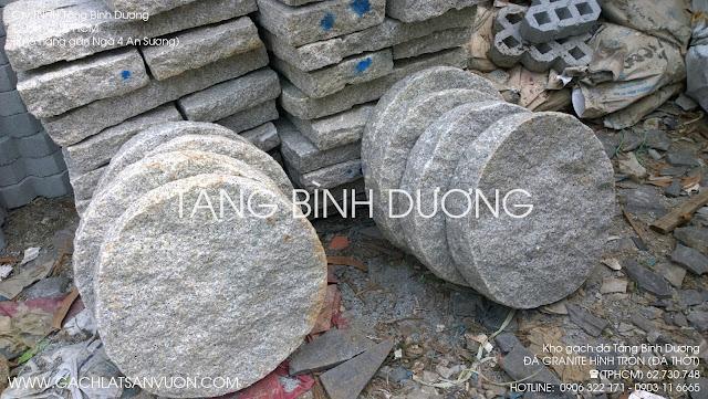 Mẫu đá thớt hình tròn làm bước đi bẳng chất liệu đá granite mè trắng Vũng Tàu