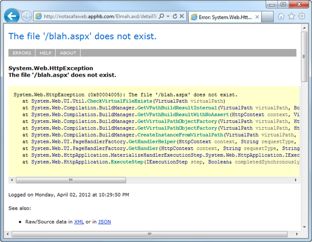 ELMAH error log entry