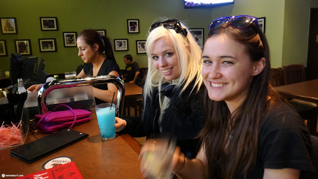 my anime north 2013 crew  - KEELY & MARIE - exhausted at boston pizza in Toronto, Ontario, Canada