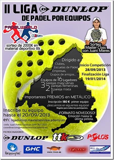 Comienza la II Liga DUNLOP 2013 de Pádel por Equipos en la Comunidad de Madrid.