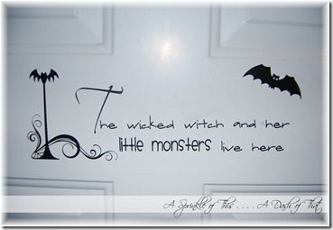 Halloween Front Door Vinyl Quote {A Sprinkle of This . . . . A Dash of That}