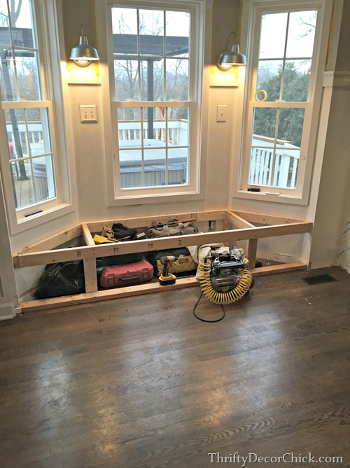 A dream realized from thrifty decor chick - How to build bay window bench ...