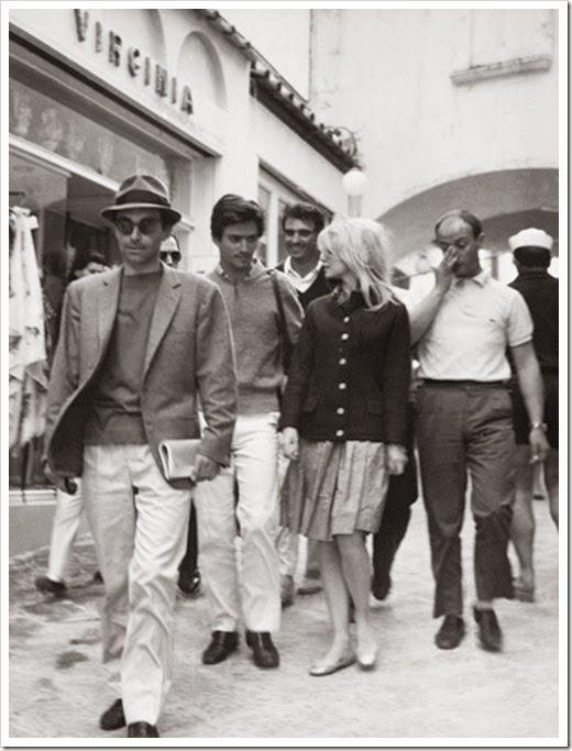 1963, ITALY, CAPRI, BRIGITTE BARDOT, SAMMY FREY, JEAN LUC GODARD