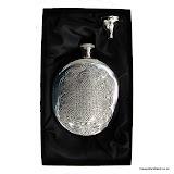 Sporran Flask with Celtic Design, Genuine Pewter