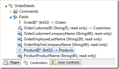 ProductID field of OrderDetails controller in the Project Explorer.