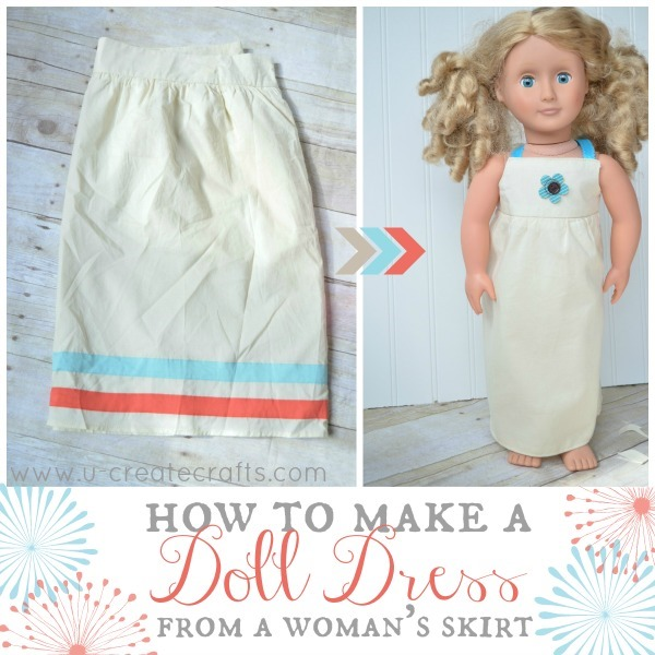 American Doll Dress from Woman's Skirt at u-createcrafts.com