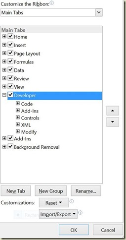 Form Controls in Excel - Active Developer Tab