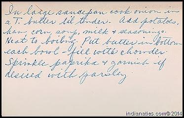 Dot Hurley's Corn Chowder Recipe, pg 2
