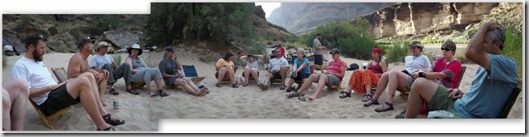 02a Some of the crew at 120 Mile camp Colorado River trip GRCA NP AZ (1024x260)