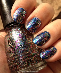 China Glaze Pizzazz over China Glaze Blue Bells Ring 2