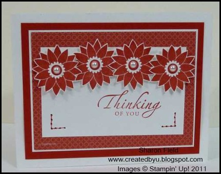 DCBD241, Sharon_Field, Fruit_and_Flowers, Sincere_Salutations, Faux_Stitching, Pearls, CAS, Card, Thinking_of_you, Poppy_parade, Just_add_Cake