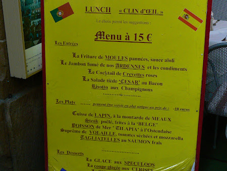 Touristic menu in Brussels Old Center