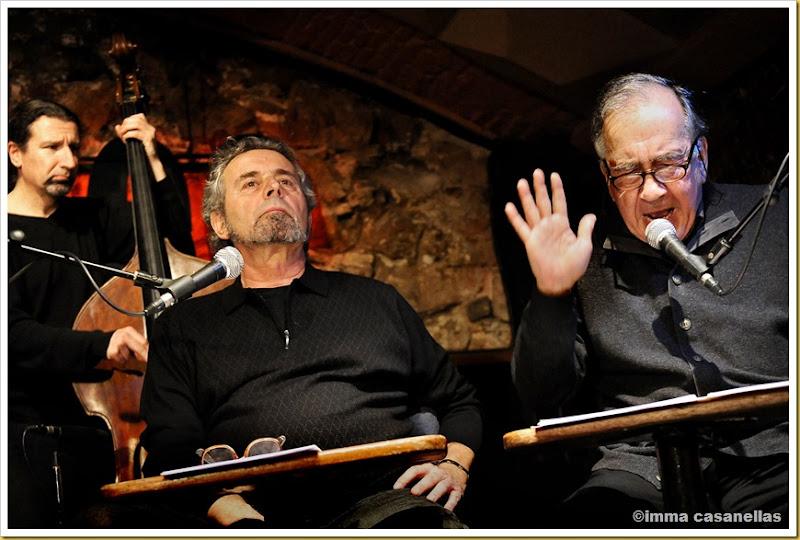 Pere Rovira i Joan Margarit amb el contrabaixista Rai Ferrer, Barcelona 2013