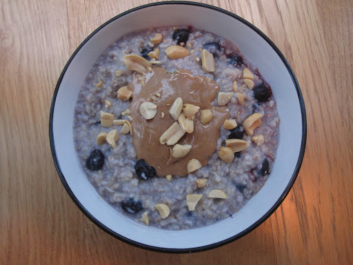 WEDNESDAY: PB&J oatmeal is a great way to go (as long as you're not packing a PB&J sandwich for lunch): Reheat the oatmeal with skim milk and frozen blueberries, then top with a dollop of peanut butter and sprinkle with chopped peanuts.