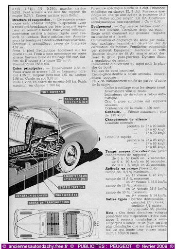 Publicité Peugeot 203 salon