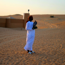 the Flacon Man.. in the desert safari..Dubai.. by Radhika Aswin - People Musicians & Entertainers (  )