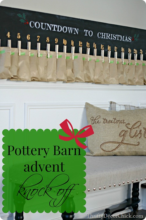 knock off Pottery Barn advent calendar