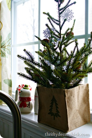 burlap bag christmas tree