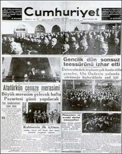 Mustafa Kemal Ataturk 10 Kasim 1938 - Gazete Mansetleri