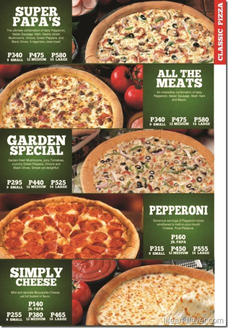 papa john's classic pizzas