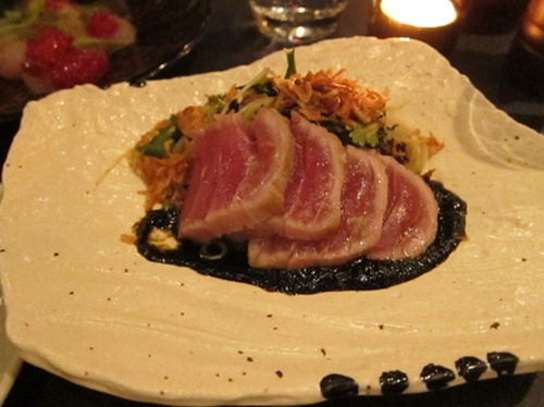 Seared Yellow Fin tuna on green papaya, green mango & coriander salad with nori sauce