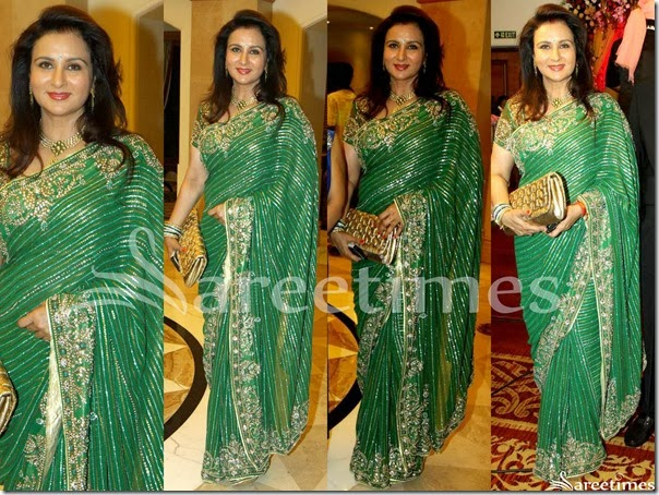 Poonam_Dhillon_Green_Embroidery_Saree