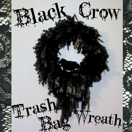 Black Crow Trash Bag Wreath {Krafty Kat}