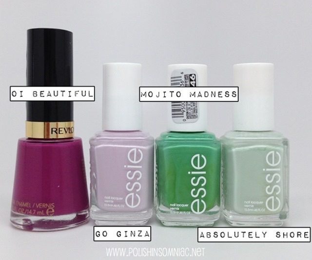 Look one - Revlon Oi Beautiful, Essie Go Ginza, Mojito Madness and Absolutely Shore #walgreensbeauty #shop #cbias
